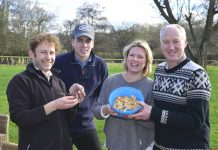 Pictured are, from left, Marlow Renton of Real Food UK, with Shukers sales specialist Matt Minnican and guests Kate Curtiss, of Leintwardine and James Moore, from Easthope