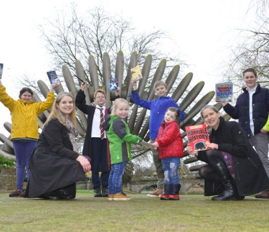 Pictured at the launch of the sponsorship deal are, from left, Daisy Hogarth, Danielle Goffe-Wood of Galliers Homes, Christopher Novelli-Cain, Elsie Wilson, Morgan Hogarth, Rose Hogarth, Joanna Hughes of the Bookfest and Thomas Hughes