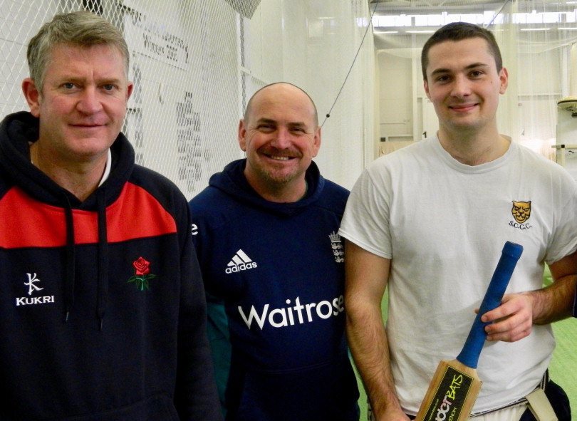 Former Lancashire star Gary Yates, left, in the nets at Shrewsbury School with Shropshire's Director of Cricket Karl Krikken and captain Steve Leach