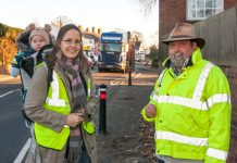 Kate King and Andy Boddington near the busy A49 in Dorrington