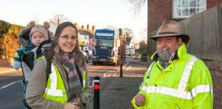 Kate King and Andy Boddington near the busy A49 in Dorrington