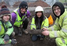 Lead archaeologist Janey Green and her team with the remains of what is believed to be an Anglo-Saxon door post