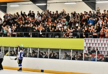 The Telford Tigers fans celebrate a win. Photo: Steve Brodie