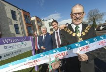 Chairman of The Wrekin Housing Trust board Steve Jones (back left) with Wrekin Housing Trust managing director, Wayne Gethings, Lovell regional managing director Stuart Penn and the Mayor of Shrewsbury Cllr Ioan Jones