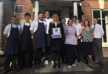 Staff at The Valley Hotel in Ironbridge with their 2017 LateRooms.com Simply the Guest Award