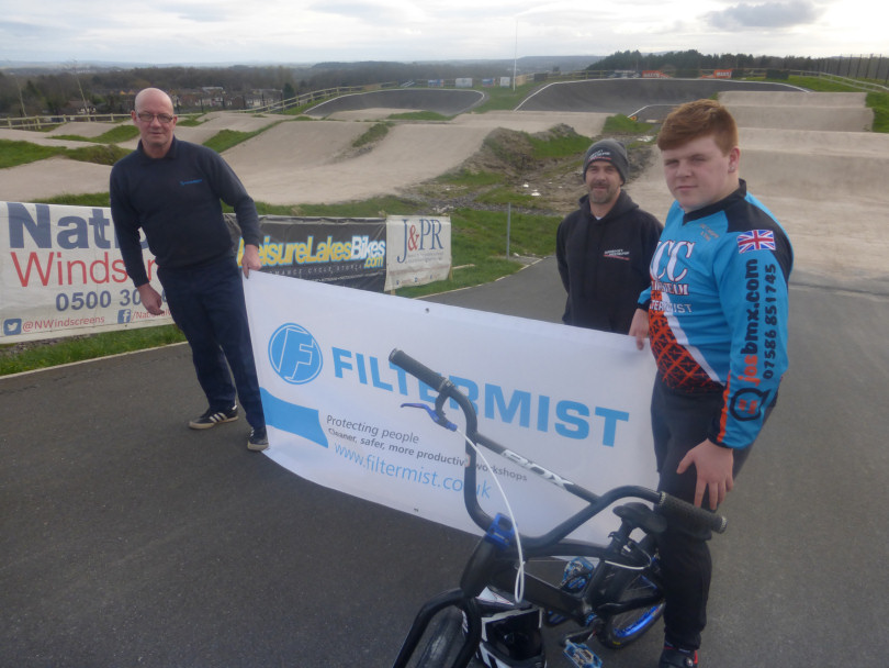 Chris Laws pictured with Kieran and Callum Edwards at Dawley BMX track