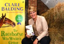 Clare Balding with her book The Racehorse Who Wouldn't Gallop. Photo: Mark Allan