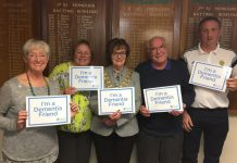 Dementia Friends Champion, Ann Johnson – Nurse Practitioner for Shropshire's Memory Service for Younger People, Rosemary Dodd – Wem Town Mayor, Geoff Stokes – President of Wem Cricket Club and Shaun Astley – Chair of Wem Cricket Club