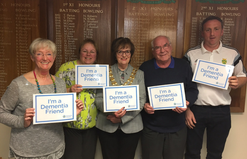Viv Edgar - Dementia Friends Champion, Ann Johnson – Nurse Practitioner for Shropshire's Memory Service for Younger People, Rosemary Dodd – Wem Town Mayor, Geoff Stokes – President of Wem Cricket Club and Shaun Astley – Chair of Wem Cricket Club