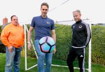 Wales international footballer Dave Edwards, from the Little Rascals Foundation, will be part of the Shrewsbury Town Legends team for the charity match on May 21. He shows his ball skills watched by, left, Stephen Johnson, from the Harry Johnson Trust, and Andy Smith, of the Crossbar Foundation