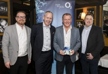 Matt Sandford (second right) is pictured being presented with the award by O2 staff, from left, Darren Buttrick, Ben Dowd and Jason Phillips