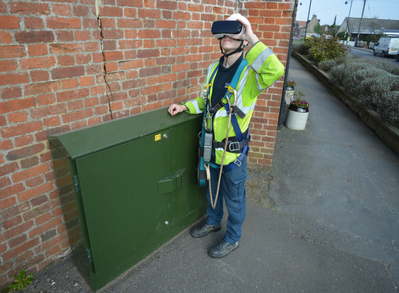 Openreach apprentice Sam Last with a VR headset