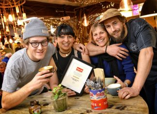 The Bird's Nest Cafe celebrating their award. (Pictured from left): Elliot Jones, Chloee Tench, Georgie Trifunovic and Aaron Brown