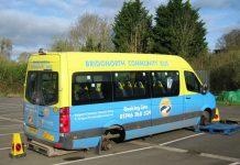 The Bridgnorth Community Bus following the theft of its wheels. Photo: @BridgnorthCops