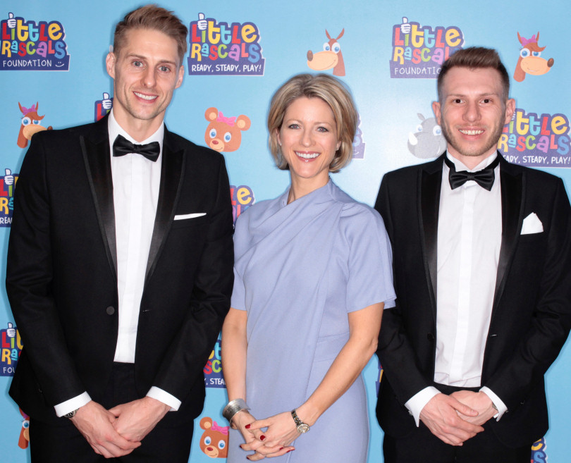 Footballer Dave Edwards, left, and his fellow trustee Ben Wootton with TV sports presenter Jacqui Oatley, who hosted the fundraising ball for the Little Rascals Foundation at Greenhous Meadow