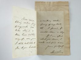 The letter from Benjamin Disraeli to William Penny Brookes in Much Wenlock