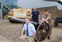 The field gun arrives in Shropshire with SP Services MD Steve Bray, MOD paramedic Alastair Richards and Private Callum Thompson, of the Royal Army Medical Corps, based at Whittington