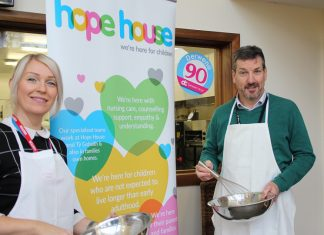 Lynsey Kilvert Area Fundraiser (Shropshire and Powys) Hope House and Andrew Harris, Director Student Support and Well-Being Derwen College