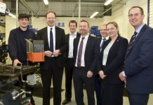 From left, Apprentice Alex Malam, Business Minister Jesse Norman, Richard Homden and Chris Greenough of Salop Design & Engineering, LEP Chair Graham Wynn, Bekki Phillips, of InComm Training and Matt Snelson, managing director of MCMT