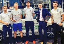 All set for Leeds is The Shrewsbury Club's tennis team, from left, captain Alex Parry, Luke Henley, Simon Ferguson and Ed Gibbs, with, second right, Sam Owen, from club sponsors Budgen Motors, who have provided the team with a car to take them to Yorkshire