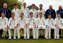 Shropshire's Development XI face the camera ahead of the match against Shrewsbury School, back from left: Ian Roe (development coach), Henry Davies, Sam Ellis, Charlie Mackelworth, Connor Dudley, Colin Barthorpe (scorer), Karl Krikken (director of cricket); front: Daniel Vaughan, Ben Lees, Brad Thornton, Charlie Home (captain), Harry Chandler, Matty Simmonds, Ryan Jakeman