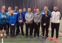 LTA coach Sam Richardson, right, who devised the Tennis for Kids programme, passed on information about this year's Tennis for Kids courses to Shropshire tennis coaches at The Shrewsbury Club