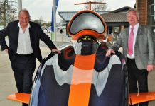 Richard Noble with Paul Hinkins, chair of the governing corporation at TCAT, and the Bloodhound car