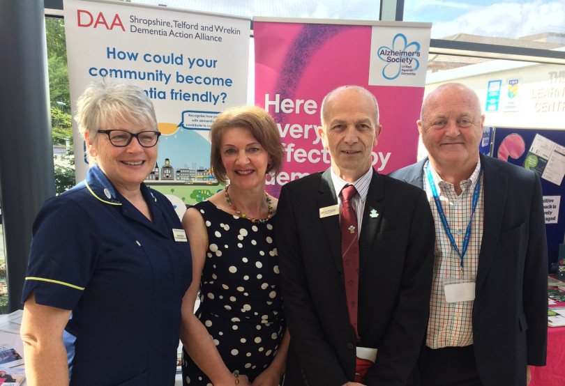 Karen Breese, Dementia Clinical Specialist at SaTH, Chris Roberts and Jayne Goodrick, who featured in a groundbreaking BBC Panorama documentary about living with dementia, and patient representative George Rook