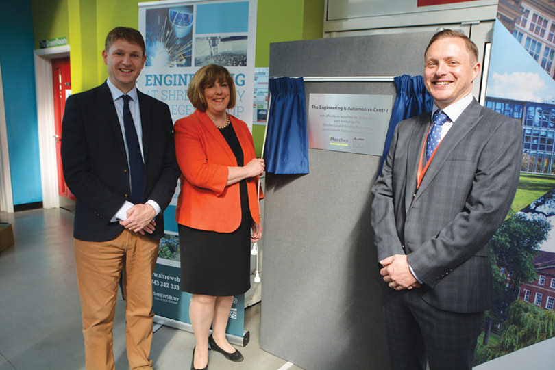 Marches LEP Director Gill Hamer unveils a plaque at the unveiling