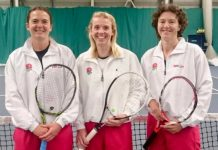 Shropshire ace Holly Mowling, left, with her England ladies over-35s team mates Kerry Quirk and Gillian Brown in Glasgow