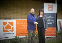 Hugh Roberts, events organiser at Oswestry Cricket Club with Woodhead senior sales consultant Kimberley Morris