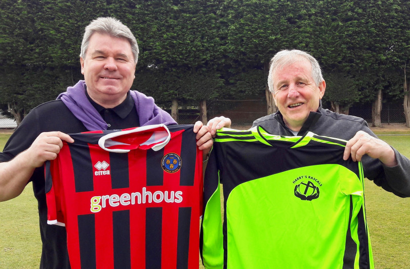 Former Shrewsbury Town team mates Jake King and Sammy Irvine, this weekend's managers, with their team's shirts