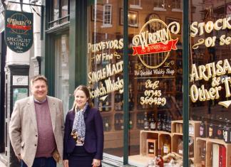 Mike Hale and Rebecca Welch outside Wrekin Whiskies on Wyle Cop, Shrewsbury