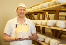 Martin Moyden of Moyden's Handmade Cheese with the Apley Cheese. Photo: Steve Watts / A Decent Exposure Photography
