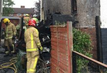 Firefighters at the scene of the fire in Arleston. Photo: @SFRSWellington