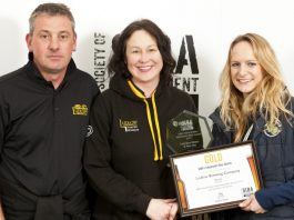 Chris Davies and Alison Walters (from Ludlow Brewery) being presented the Gold award by Emily Powell-Tuck from Charles Faram