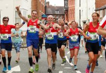 Members of the Shropshire Shufflers take part in the 2016 Shrewsbury Half Marathon. Photo: Sussex Sport Photography