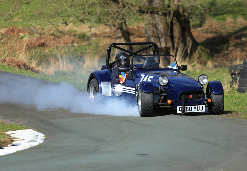 A Westfield sports car braking heavily for Triangle Bend, Loton Park Hill Climb, Shrewsbury