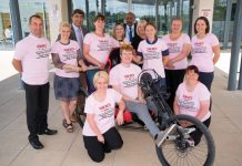 Members of the RJAH Snowdon Push team – including patient Tim Mabon – getting ready for the big event in less than two weeks