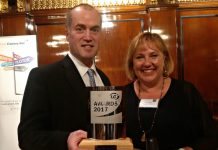 Colin Spanner and Kay Kelly with the award