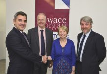 Chris Detheridge with Jeremy Taylor (senior partner), Diana Packwood (managing director) and Keir Hirst (employment director)