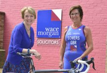 Barb Somers is pictured in her new sponsored tri suit with Diana Packwood, managing partner of Wace Morgan Solicitors