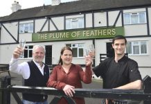 Pictured from left, Ian, Elizabeth and Declan Christian outside the Plume of Feathers