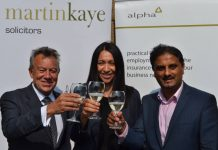 Graham Davies, Emma Palmer, and John Mehtam celebrate the 10th anniversary of the ALPHA scheme at Martin-Kaye Solicitors