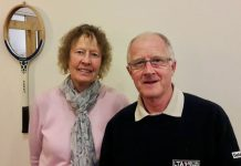 Merill Holt, Tennis Shropshire's lead volunteer, and Bob Kerr, the chairman of Tennis Shropshire