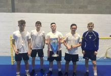 Olympique Lyon, Champions League Winners, L-R Dan Slawson, Andy Papirnyk, Joe Kinsella, Jacques Wilcox and Connor Wintin