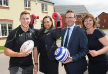 Rugby player Huw Taylor, Persimmon Homes West Midlands' sales advisor Hayley Plummer, director-in-charge Stephen Cleveley and sales manager Lorraine Lawrence launch the scheme