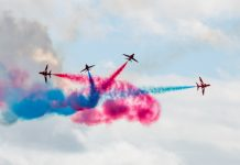 The Red Arrows perform at RAF Cosford Air Show. Photo: Steven Oliver