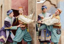 The Lord Chamberlain's Men on stage performing The Comedy of Errors. Photo: Jack Offord