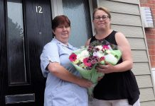 Julie Trevor, left, is pictured with Jeanette Bailey, housing executive for The Wrekin Housing Trust